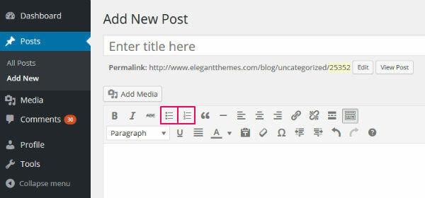 скриншот админки сайта о том, как добавлять маркированные спискт