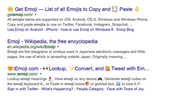 Скриншот применения эмоджи в поисковой выдаче Google, смайлы отображались вместе с названием поискового запроса или в сниппите